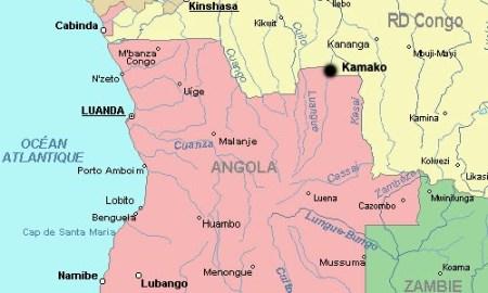 Une carte de Kamako (point noir), à la frontière avec l'Angola.